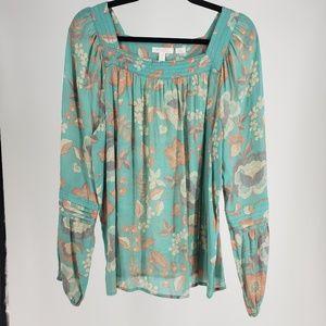Lauren Conrad Floral Blue Tunic Size XL
